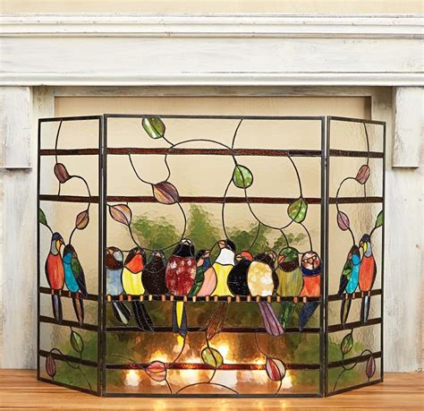 amazing stained glass fireplace screen designs with