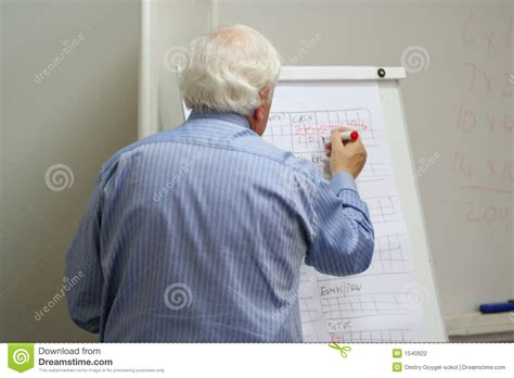 Mba Org Blackboard by Professor Writes On The Blackboard Stock Photography
