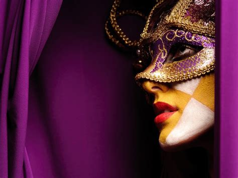 Profile masquerade purple background cloths face paint
