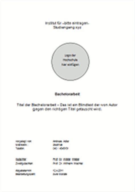 Word Vorlage Deckblatt Bachelorarbeit Gestaltung Und Inhalt Des Deckblattes Einer Bachelorarbeit