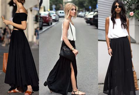 what to wear with a black maxi skirt ways to