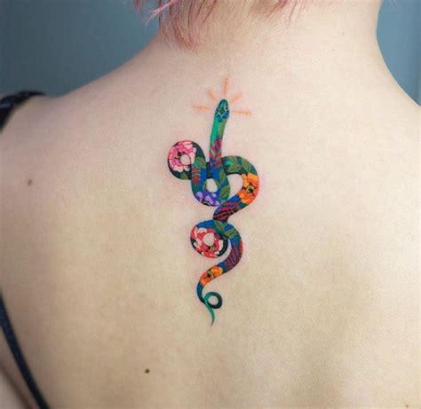 floral snake back tattoo best tattoo design ideas