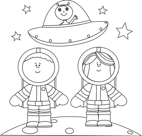 coloring pages personal space black and white astronauts on moon with ufo clip art