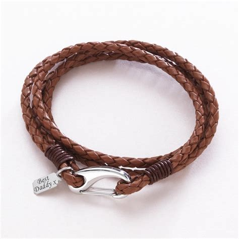 s leather wrap bracelet with engraved charm charming