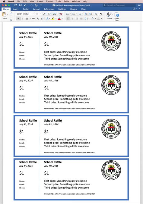 raffle tickets template word format resume