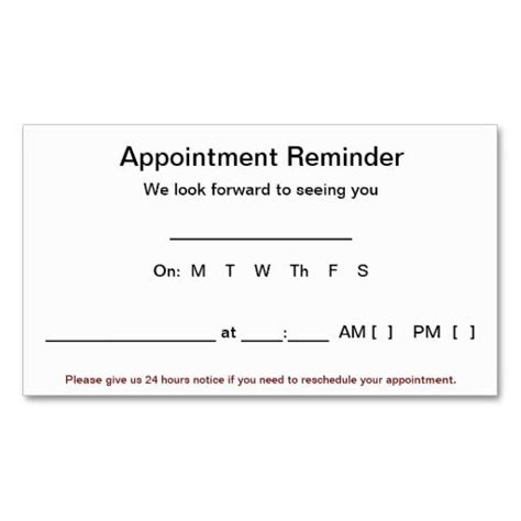Appointment Reminder Card Template Word by Appointment Reminder Cards 100 Pack White Business Card