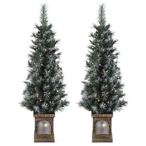 set of 2 pre lit 4ft 120cm frosted christmas garden