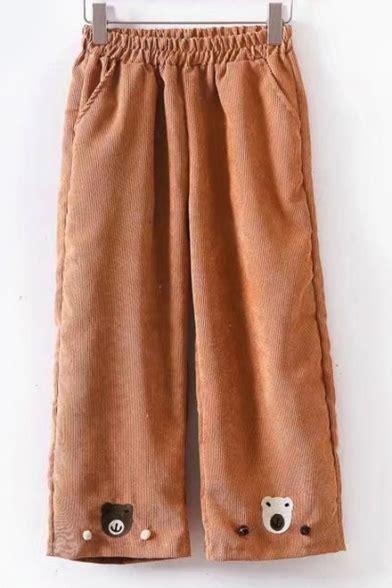 cute pattern pants cute bear pattern elastic waist wide leg pants
