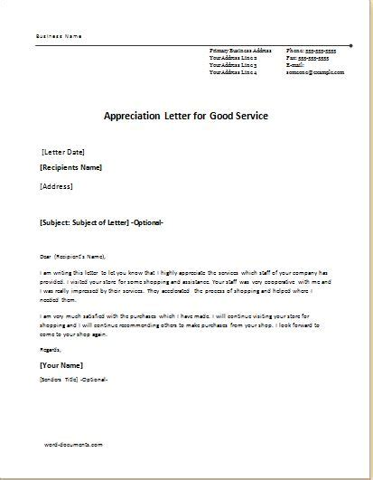 Service Letter Of Appreciation 6 appreciation letter templates for ms word document templates