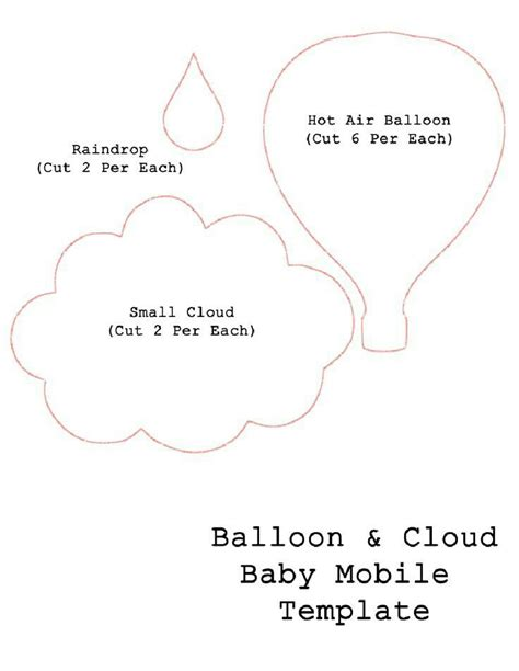 Cloud Raindrop And Hot Air Balloon Scrapbooking Templates Pinterest Hot Air Balloons Air Air Balloon Mobile Template