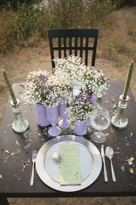 Rustic Lavender Wedding Inspiration   Table Decor For