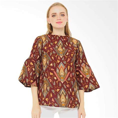 model tunik batik elegan modern kerja kombinasi