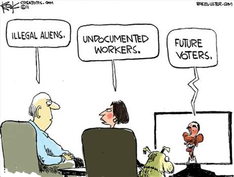 political cartoon about illegal immigration obama plans fast track voting for illegal aliens in 2016