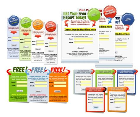 The Graphical Opt In Box Collection Templates For Lead Generation Lists Opt In Website Templates
