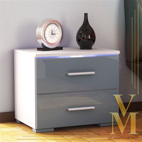 White And Grey Bedside Cabinet Bedroom Bedside Cabinet Faro In White Grey Highgloss Ebay
