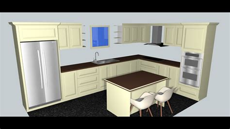 sketchup kitchen layout kitchen design in sketchup 1 youtube