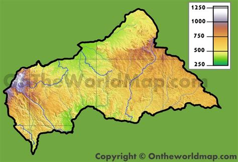 physical map of central africa central republic physical map