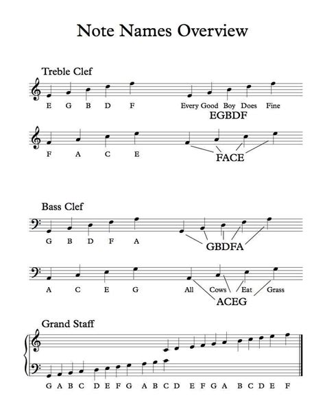 bass clef notes treble and bass clef note names overview free pdf