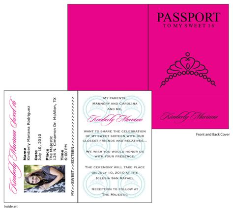 sweet 16 passport invitations