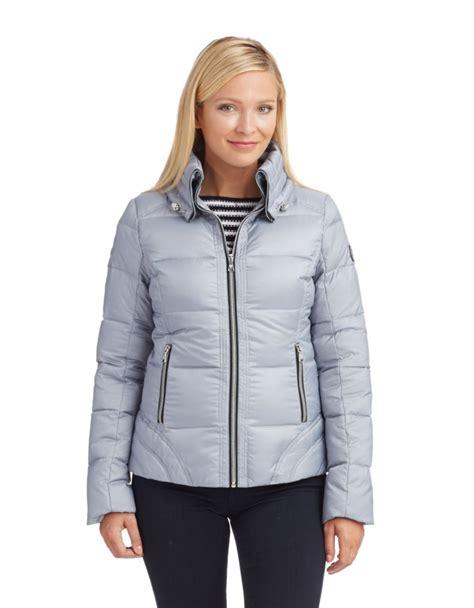 Zipper Jaket Silver guess zipper front jacket in silver lyst