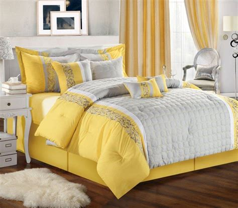 Yellow Gray White Bedroom by Grey And Yellow Bedding For White Bedroom Decororations