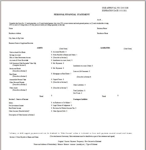 statement of assets and liabilities template free 40 personal financial statement templates forms