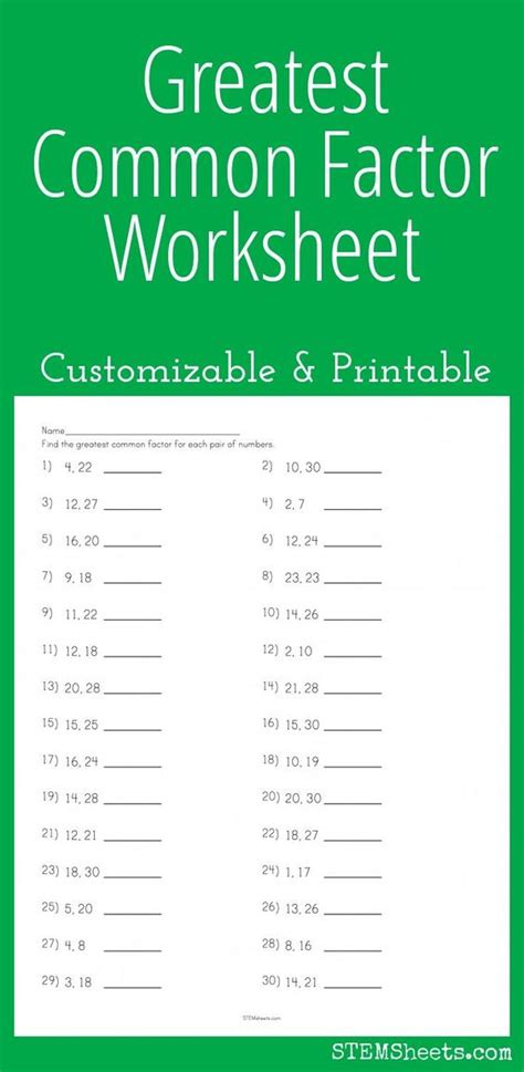 Common Worksheets Math by Greatest Common Factor Worksheet Customizable And