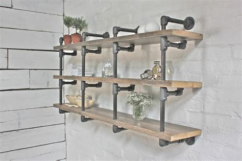 reclaimed scaffolding board and steel gas pipe