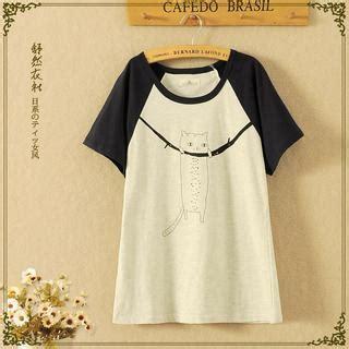 Korean Style Shirt Sk 63 buy storyland color block cat print t shirt yesstyle