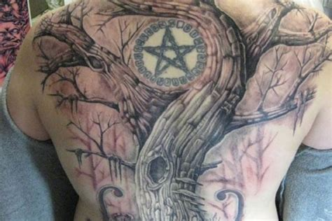 full back amazing pagan star and tree tattoo for handsome