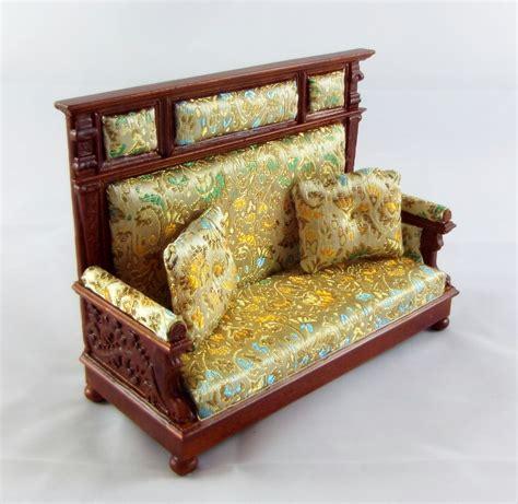 tudor dolls house furniture dolls house fine miniature furniture walnut wooden jbm tudor hall couch sofa ebay