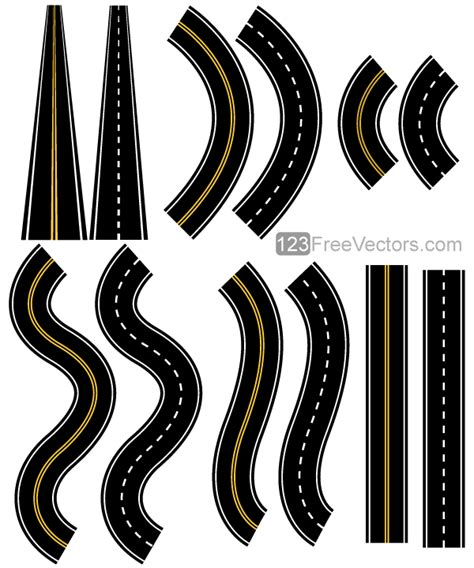 printable road pieces カーブ s字 直線 遠近など道路の無料イラストパーツ 12種類 all free clipart