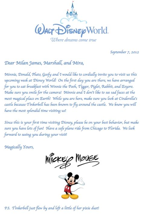 disney letter template letter from mickey mouse way to announce you re