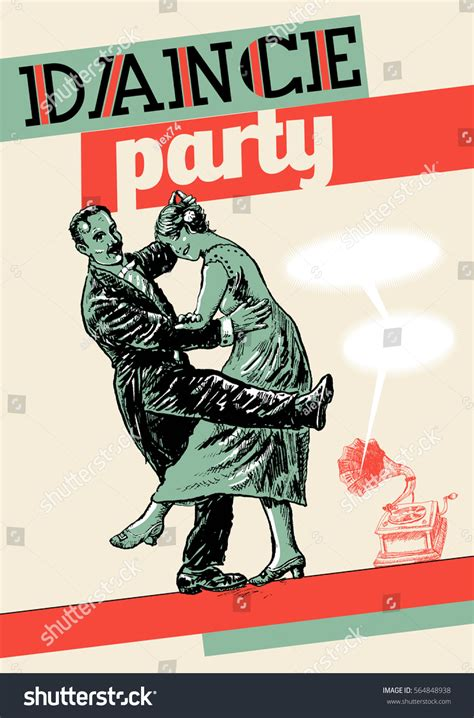 vintage dance party retro dance party poster template private stock vector