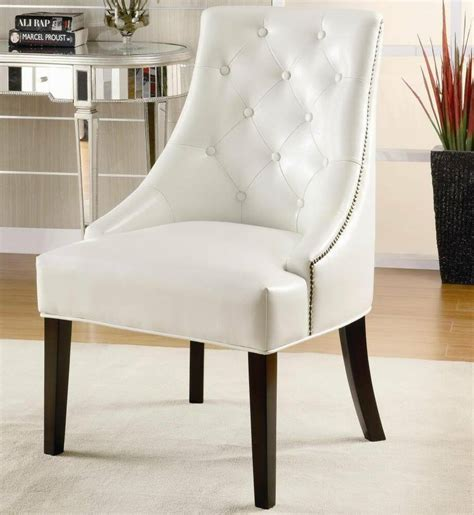 Accents Chairs - faux leather white accent chair with tufted button