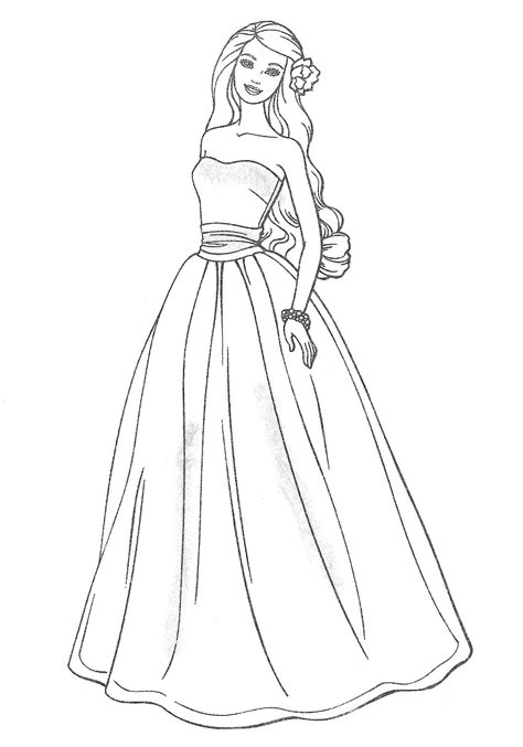 free coloring pages of barbie evening dresses