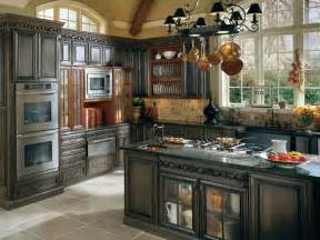 Beautifully rustic island features the stove range with pot rack above