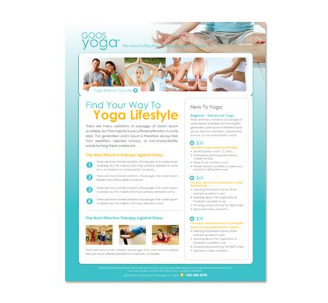 templates for yoga flyers yoga studio flyer template