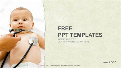 Little Baby With Stethoscope Medical Ppt Templates Pediatric Powerpoint Templates Free