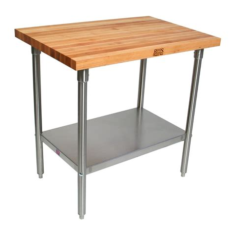 stainless steel butcher block table boos work table with stainless steel base