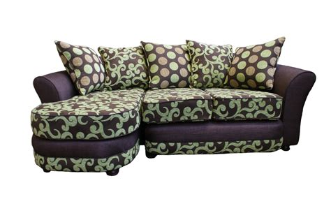 fabrics for sofas modern sectional sleeper sofa with fancy linen fabric finishing and polkadot pattern cushions