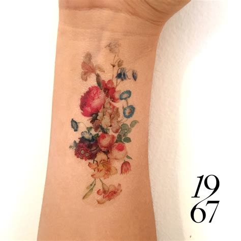 tattoo back spring vintage floral temporary tattoo fresh bouquet of flowers