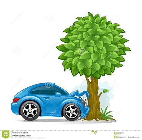 auto insurance when a tree car crashed into tree royalty free stock images image 36907559