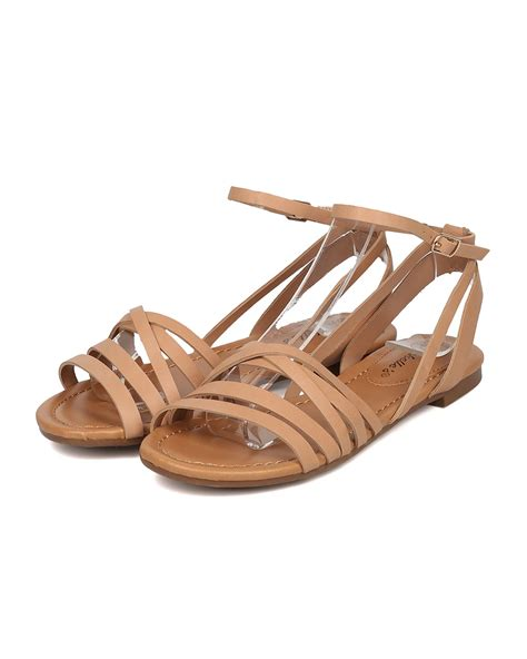 breckelles shoes shoes breckelles gg48 leatherette strappy flat sandal
