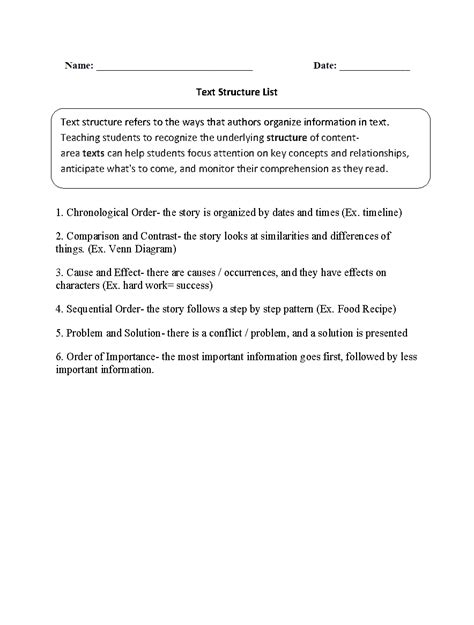 Text Structure Worksheets 5th Grade by Text Structure Worksheets 5th Grade Worksheets