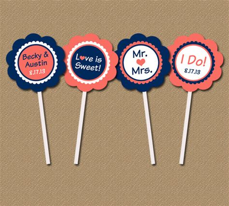 bridal shower cupcake toppers printables bridal shower cupcake toppers personalized modern printable