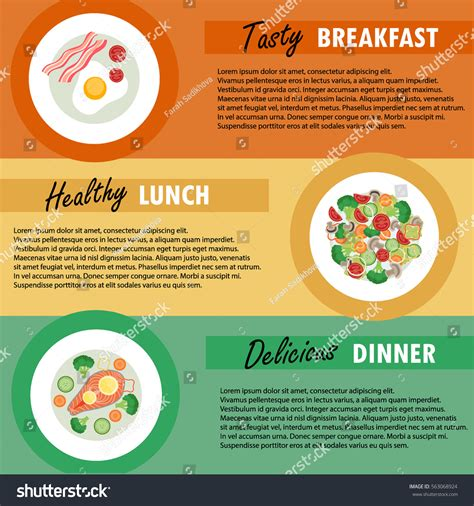 breakfast lunch and dinner menu template vector banner template breakfast lunch dinner stock vector