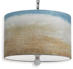 Beachy Pendant Lighting Painted Seaside Style Landscape Drum Pendant Light Coastal Pendant Lighting By Kathy