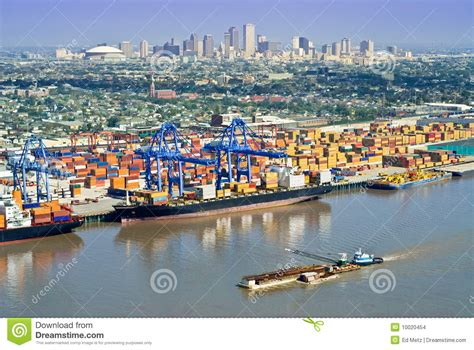 xpress boats new orleans new orleans cityscape with port activity stock images