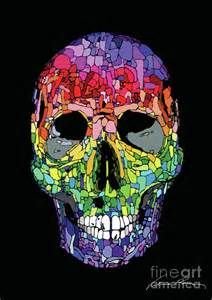 colorful skull color skull drawing by valerio porru